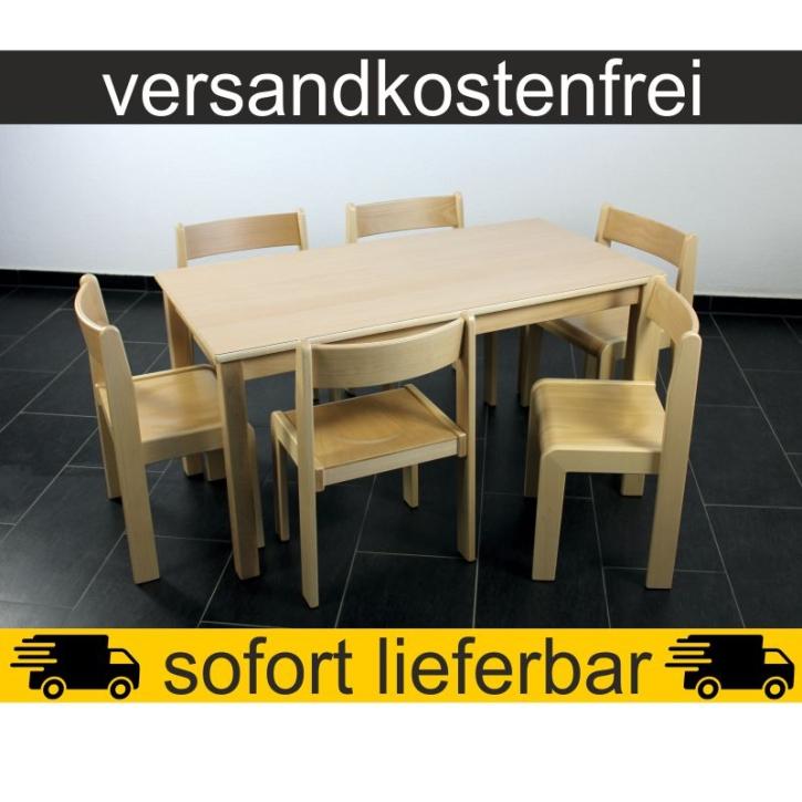 Sparset: 1 Stück Rechtecktisch 120×60 cm Höhe 59 cm + 6 Stück Stapelstuhl TIM Sitzhöhe 35 cm