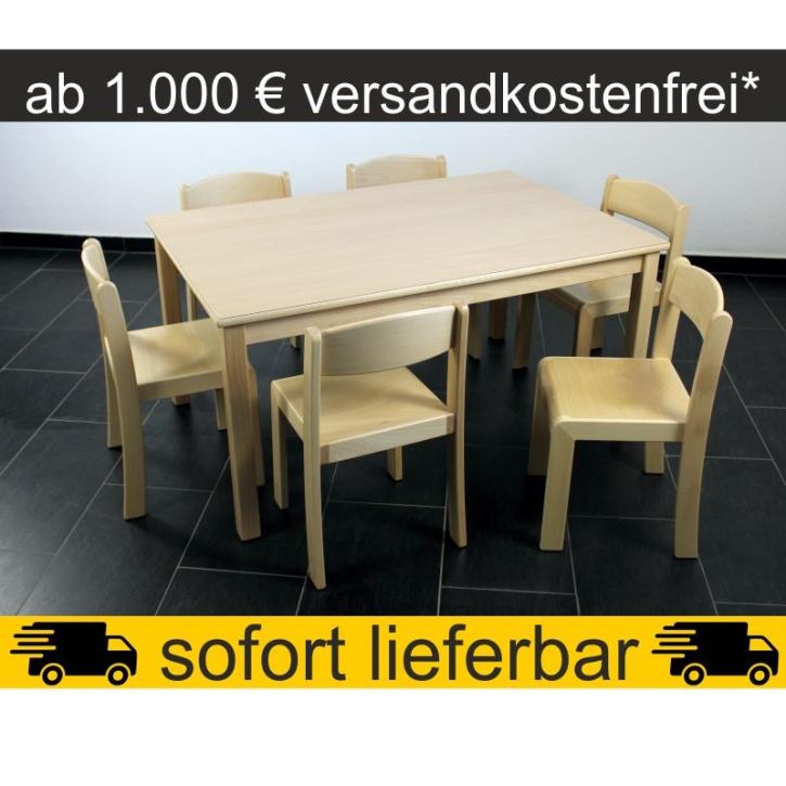 Sparset: 1 Stück Rechtecktisch 120×80 cm Höhe 59 cm + 6 Stück Stapelstuhl ERIC Sitzhöhe 35 cm