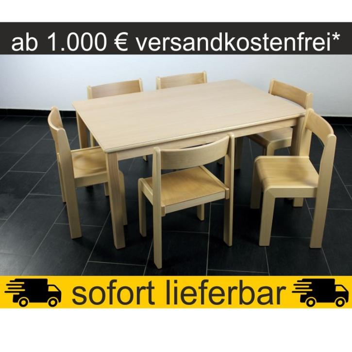 Sparset: 1 Stück Rechtecktisch 120×80 cm Höhe 59 cm + 6 Stück Stapelstuhl TIM Sitzhöhe 35 cm
