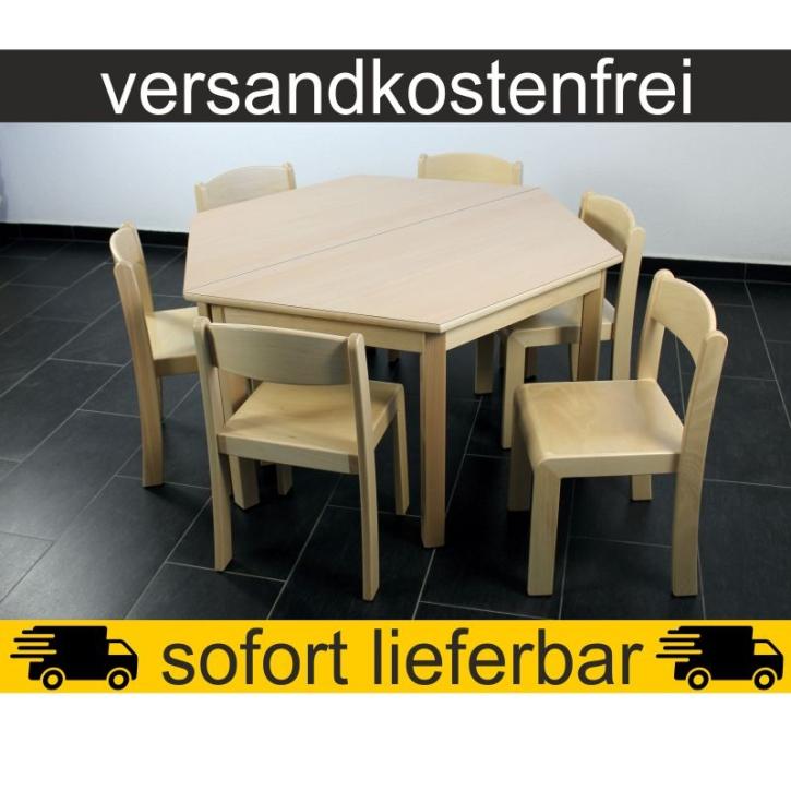 Sparset: 2 Stück Trapeztisch 120×60 cm Höhe 59 cm + 6 Stück Stapelstuhl ERIC Sitzhöhe 35 cm