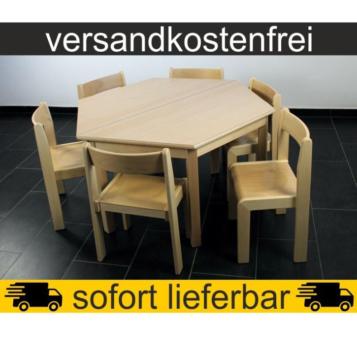 Sparset: 2 Stück Trapeztisch 120×60 cm Höhe 59 cm + 6 Stück Stapelstuhl TIM Sitzhöhe 35 cm