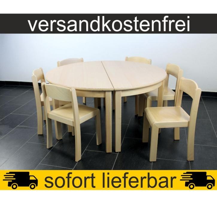 Sparset: 2 Stück Halbrundtisch 120×60 cm Höhe 59 cm + 6 Stück Stapelstuhl ERIC Sitzhöhe 35 cm