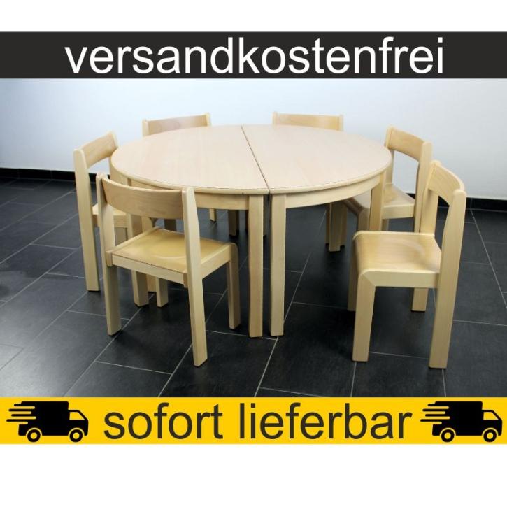 Sparset: 2 Stück Halbrundtisch 120×60 cm Höhe 59 cm + 6 Stück Stapelstuhl TIM Sitzhöhe 35 cm