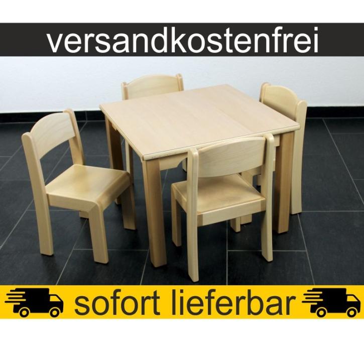 Sparset: 1 Stück Quadrattisch 60×60 cm Höhe 46 cm + 4 Stück Stapelstuhl ERIC Sitzhöhe 26 cm