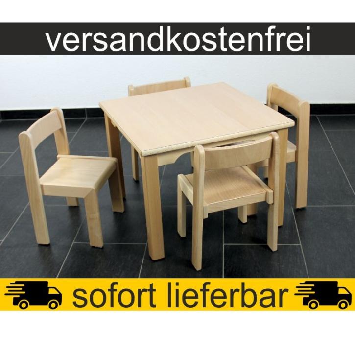 Sparset: 1 Stück Quadrattisch 60×60 cm Höhe 46 cm + 4 Stück Stapelstuhl TIM Sitzhöhe 26 cm