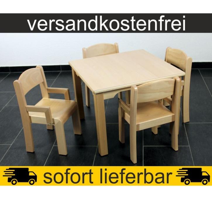 Sparset: 1 Stück Quadrattisch 60×60 cm Höhe 46 cm + 4 Stück Armlehnenstuhl ERIC Sitzhöhe 26 cm