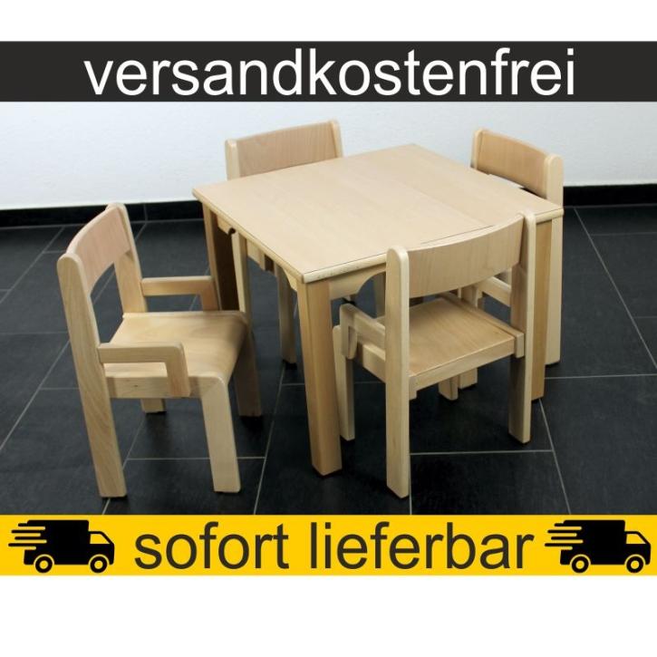 Sparset: 1 Stück Quadrattisch 60×60 cm Höhe 46 cm + 4 Stück Armlehnenstuhl TIM Sitzhöhe 26 cm