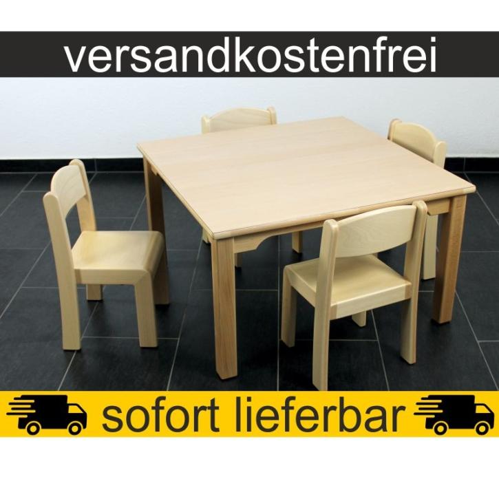 Sparset: 1 Stück Quadrattisch 80×80 cm Höhe 46 cm + 4 Stück Stapelstuhl ERIC Sitzhöhe 26 cm