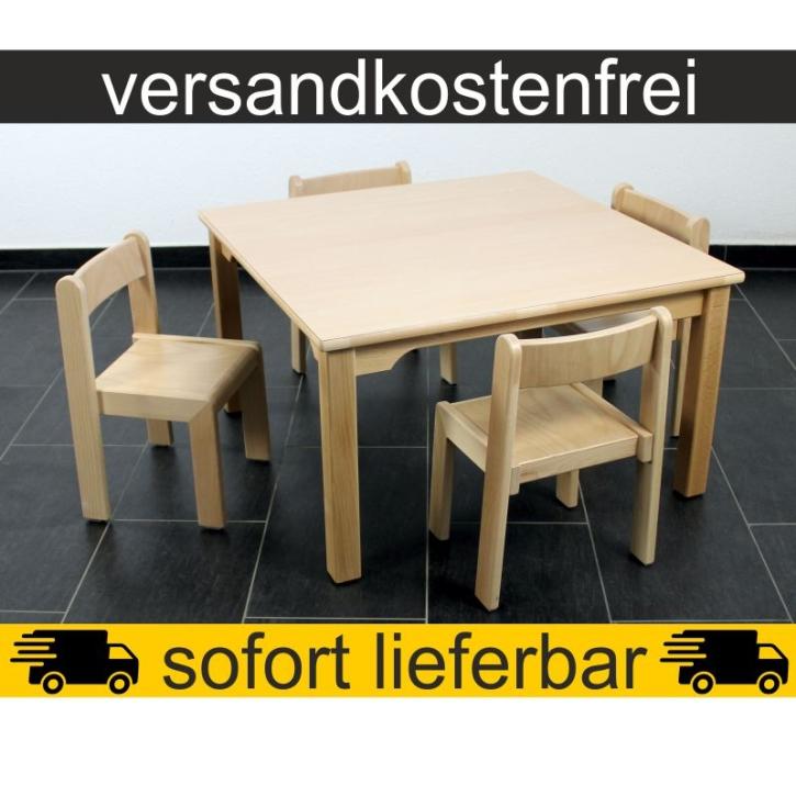 Sparset: 1 Stück Quadrattisch 80×80 cm Höhe 46 cm + 4 Stück Stapelstuhl TIM Sitzhöhe 26 cm
