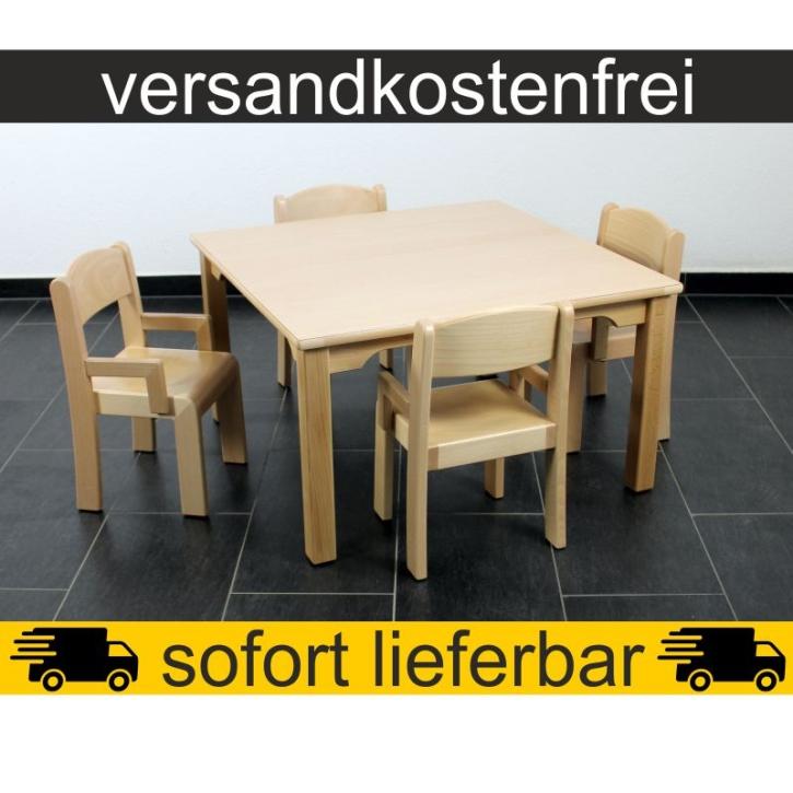 Sparset: 1 Stück Quadrattisch 80×80 cm Höhe 46 cm + 4 Stück Armlehnenstuhl ERIC Sitzhöhe 26 cm
