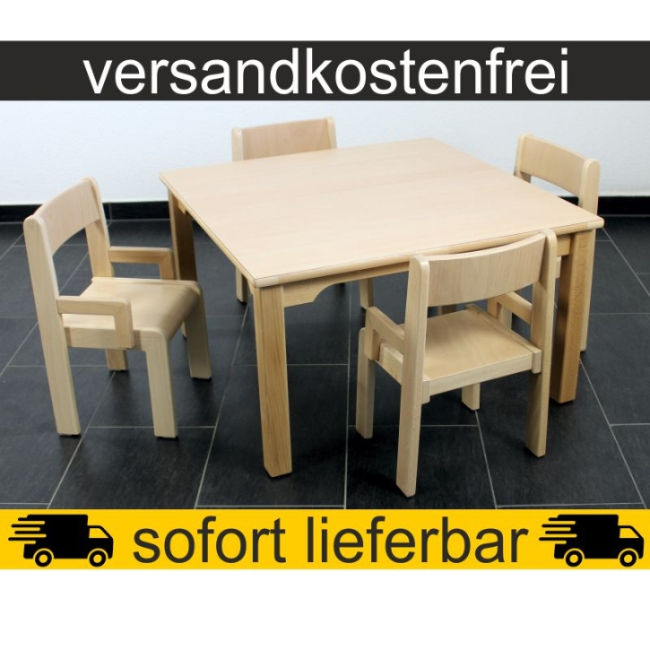 Sparset: 1 Stück Quadrattisch 80×80 cm Höhe 46 cm + 4 Stück Armlehnenstuhl TIM Sitzhöhe 26 cm