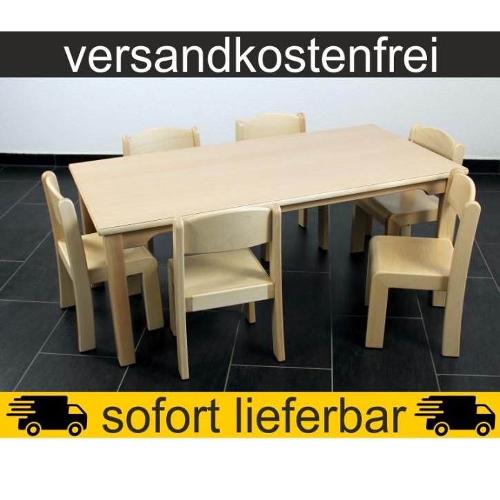 Sparset: 1 Stück Rechtecktisch 120×60 cm Höhe 46 cm + 6 Stück Stapelstuhl ERIC Sitzhöhe 26 cm