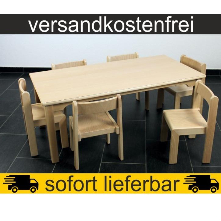 Sparset: 1 Stück Rechtecktisch 120×60 cm Höhe 46 cm + 6 Stück Stapelstuhl TIM Sitzhöhe 26 cm