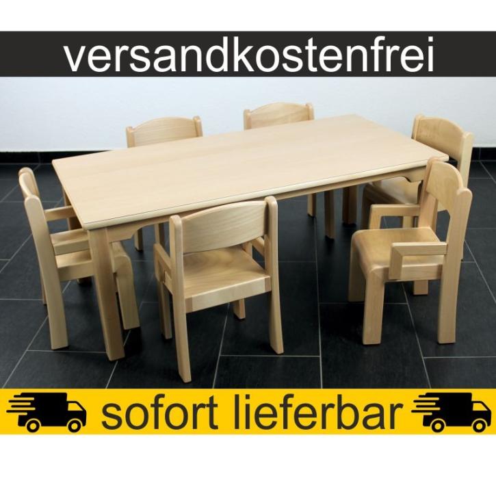 Sparset: 1 Stück Rechtecktisch 120×60 cm Höhe 46 cm + 6 Stück Armlehnenstuhl ERIC Sitzhöhe 26 cm