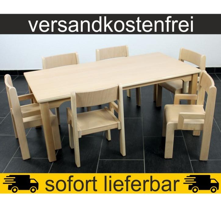 Sparset: 1 Stück Rechtecktisch 120×60 cm Höhe 46 cm + 6 Stück Armlehnenstuhl TIM Sitzhöhe 26 cm