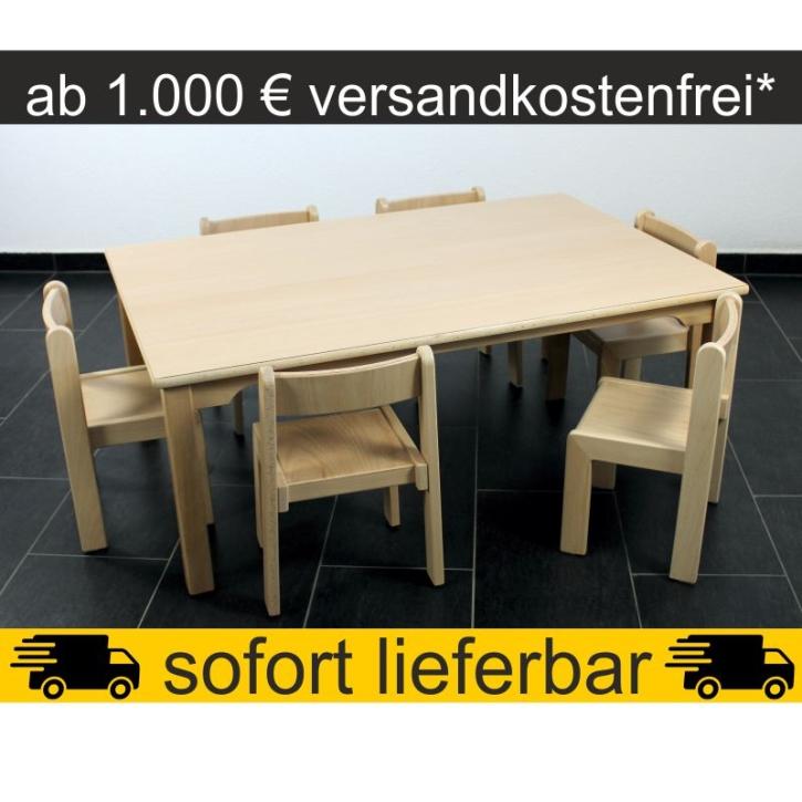 Sparset: 1 Stück Rechtecktisch 120×80 cm Höhe 46 cm + 6 Stück Stapelstuhl TIM Sitzhöhe 26 cm