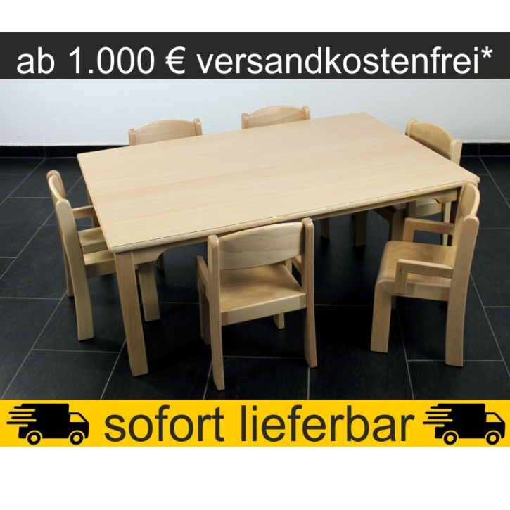 Sparset: 1 Stück Rechtecktisch 120×80 cm Höhe 46 cm + 6 Stück Armlehnenstuhl ERIC Sitzhöhe 26 cm