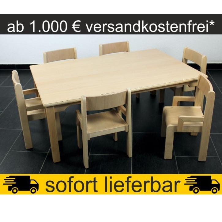 Sparset: 1 Stück Rechtecktisch 120×80 cm Höhe 46 cm + 6 Stück Armlehnenstuhl TIM Sitzhöhe 26 cm