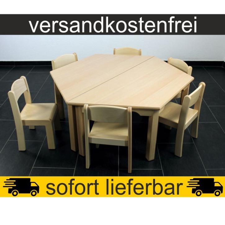 Sparset: 2 Stück Trapeztisch 120×60 cm Höhe 46 cm + 6 Stück Stapelstuhl ERIC Sitzhöhe 26 cm