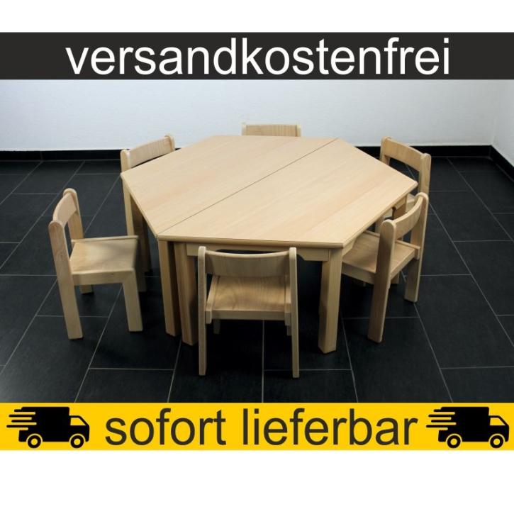 Sparset: 2 Stück Trapeztisch 120×60 cm Höhe 46 cm + 6 Stück Stapelstuhl TIM Sitzhöhe 26 cm