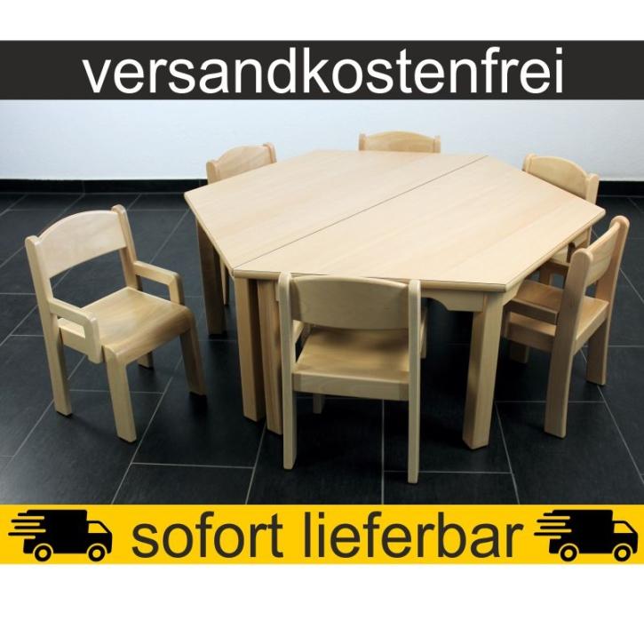 Sparset: 2 Stück Trapeztisch 120×60 cm Höhe 46 cm + 6 Stück Armlehnenstuhl ERIC Sitzhöhe 26 cm