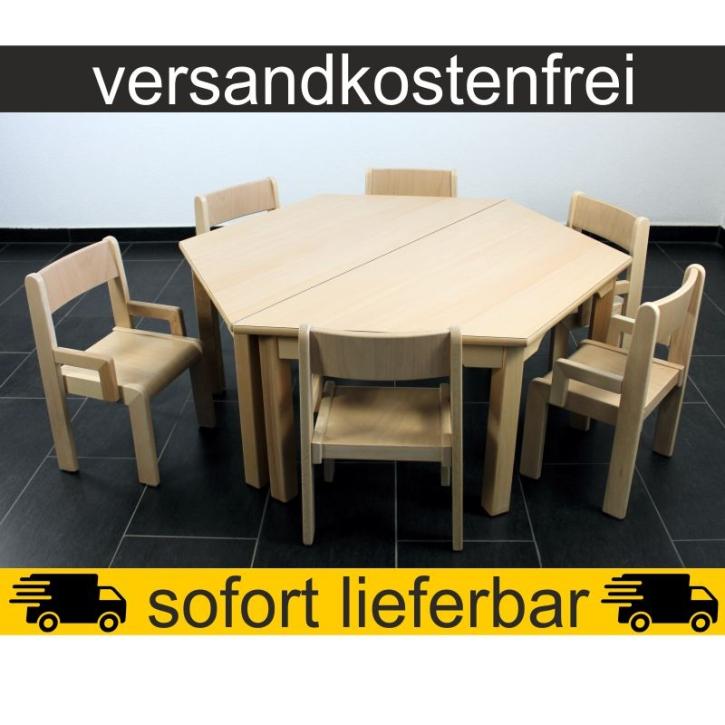 Sparset: 2 Stück Trapeztisch 120×60 cm Höhe 46 cm + 6 Stück Armlehnenstuhl TIM Sitzhöhe 26 cm