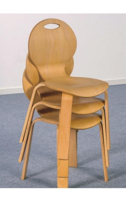 Stapelstuhl PEARL, Sitzschale natur, Sitzhöhe 31 cm