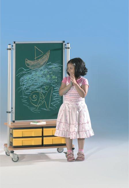 BoxBoard Emailletafel, mit 4 flachen InBoxen, B/H/T 72 x 120 x 45 cm