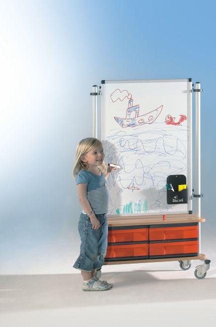 BoxBoard Whiteboard, mit 4 flachen InBoxen, B/H/T 72 x 120 x 45 cm