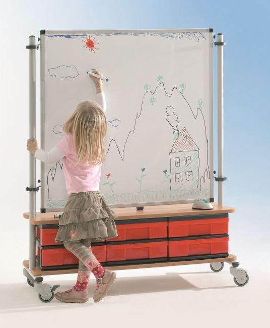 BoxBoard Whiteboard, mit 6 flachen InBoxen, B/H/T 103 x 120 x 45 cm