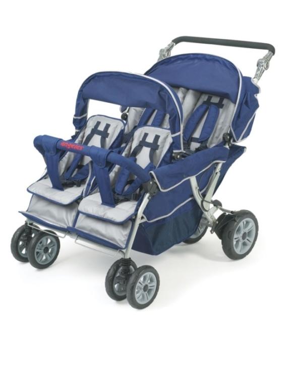 ANGELES Krippenwagen 4-Sitzer blau, mit Hand- und Fußbremse