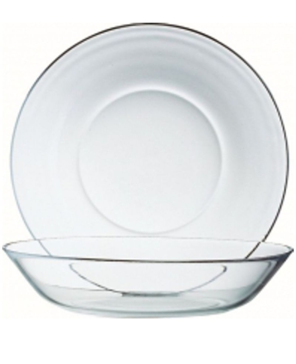 "(2) Puddingteller ""Cosmos"" Ø 140 x H 30 cm, gehärtetes Glas"