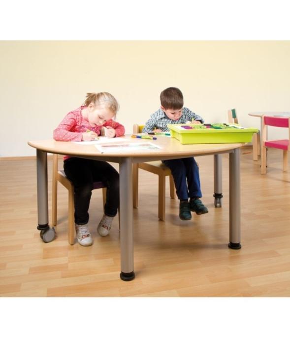 Fahrbarer Halbrund-Tisch mit Stahlgestell (Variante wählen)