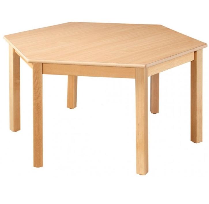 6-Eck-Tisch Ø 120 cm, Formica-Tischplatte (Variante wählen)