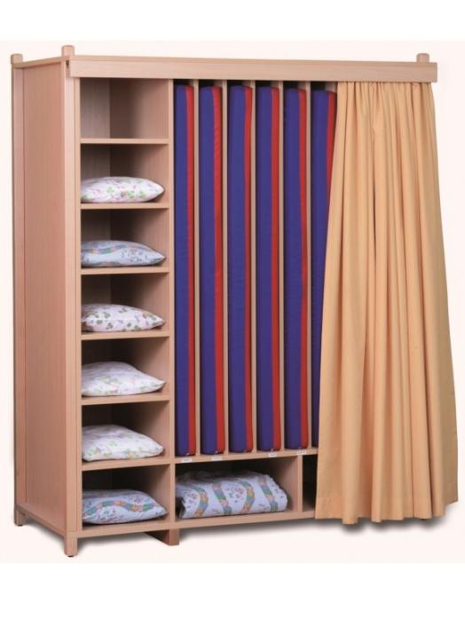 Liegepolsterschrank in Stollenbauweise, Bettzeugfächer oben oder unten + seitlich