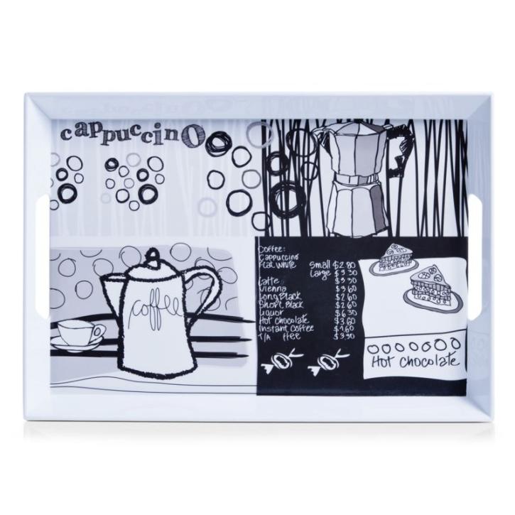Serviertablett kratzfest, mit hohem Rand, 50×35×4,5 cm, Motiv COFFEE