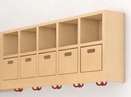 (14) Mützenablage 2-reihig mit Ablageboxen (Ausführung wählen)