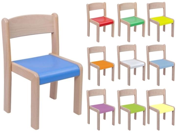 Stapelstuhl VICTOR, Buche natur, mit farbiger Sitzfläche