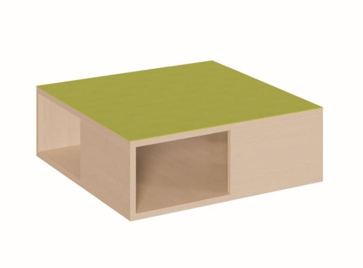 Quadratpodest, wechselseitig je halb geschlossen, B/T 70 x 70 cm