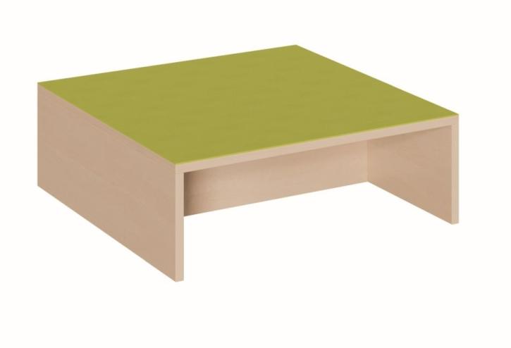 Quadratpodest 2 Seiten offen, mit Mittelsteg, B/T 70 x 70 cm