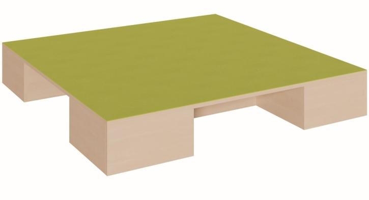 Quadratpodest mit 2 Garagen für Rollkästen, B/T 150 x 150 cm