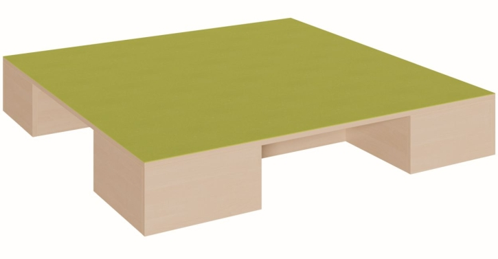 Quadratpodest mit 3 Garagen für Rollkästen, B/T 150 x 150 cm