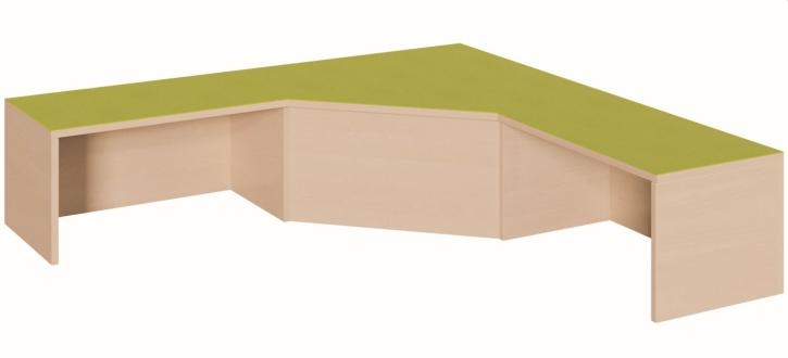 Schenkelpodest für 2 Rollkästen, B/T 150 x 150 cm, Anstellseiten 40 cm