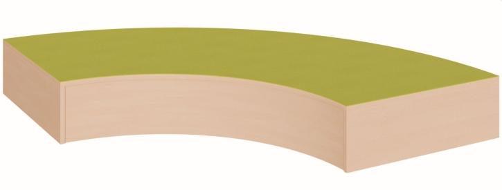 Viertelkreisbogenpodest, rundum geschlossen,  B/T 150 x 150 cm