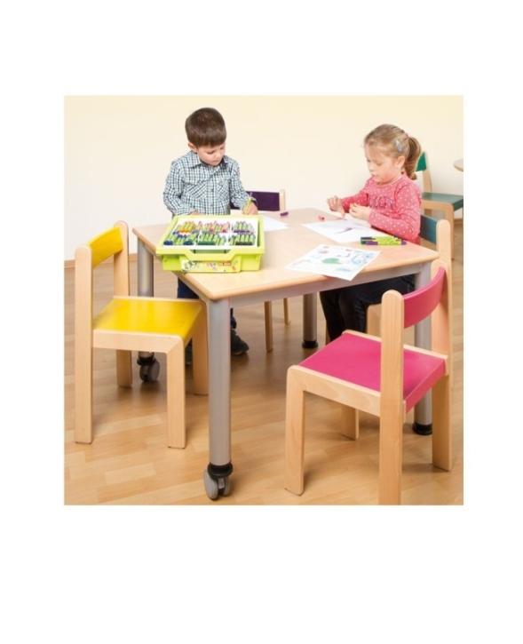 Fahrbarer Quadrat-Tisch mit Stahlgestell (Variante wählen)