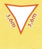 Sonnensegel wind- und wasserdurchlässig, Dreieck 3,6 x 3,6 m (Farbe wählen)
