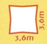 Sonnensegel wasserabweisend, Quadrat 3,6 x 3,6 m, creme-weiß
