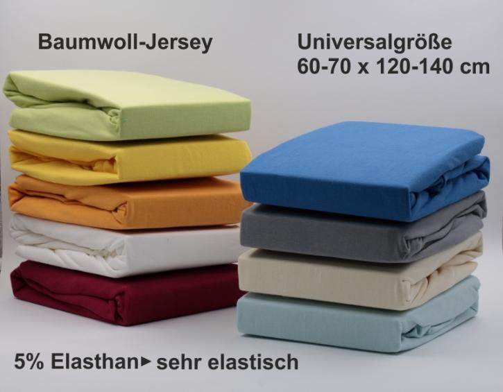 Spannbettlaken Baumwoll-Jersey, Universalgröße 60-70 x 120-140 cm (aus 9 Farben wählen)
