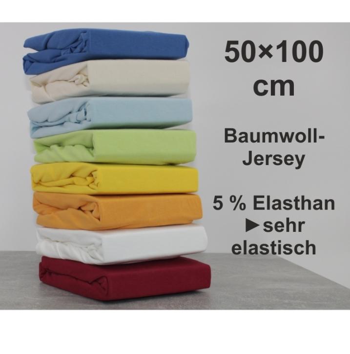 Spannbettlaken ca. 50 x 100 cm, Baumwoll-Jersey (aus 8 Farben wählen)