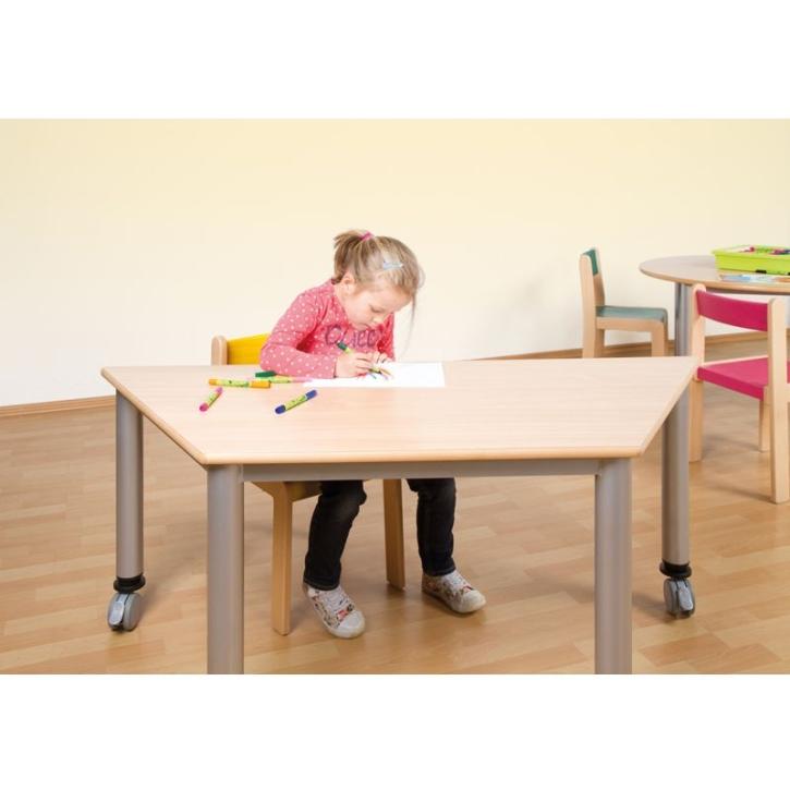 Fahrbarer Trapez-Tisch mit Stahlgestell (Variante wählen)